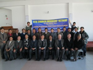Pastors attending the Christian Workers Retreat belonging to the Evangelical Presbyterian Church of Sikkim, Gangtok.