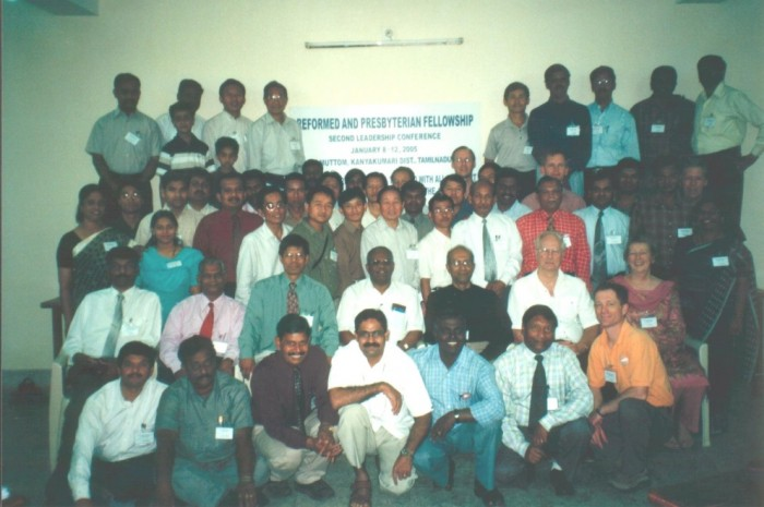 A group photo of all those attending the Reformed and Presbyterian Fellowship of India, Second Leadership Conference, January 8 – 12 2005. At Motton, Kanyakumari District, Tamilnadu representing 11 denominations.